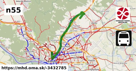 ilustračný obrázok k Bus N55: Na pantoch => Hlavná stanica