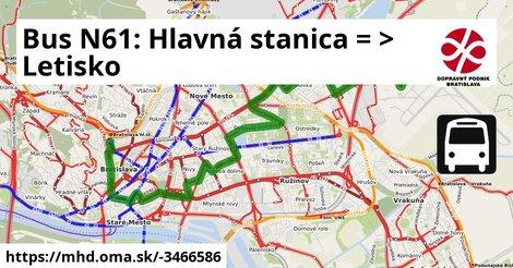 ilustračný obrázok k Bus N61: Hlavná stanica => Letisko