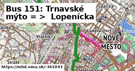 ilustračný obrázok k Bus 151: OD Slimák => Lopenícka