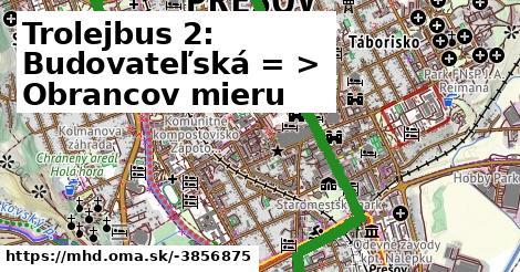 ilustračný obrázok k Trolejbus 2: Budovateľská => Obrancov mieru