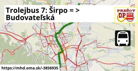 ilustračný obrázok k Trolejbus 7: Širpo => Budovateľská