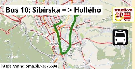 ilustračný obrázok k Bus 10: Sibírska => Hollého