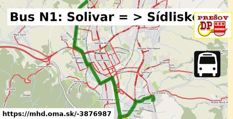ilustračný obrázok k Bus N1: Solivar => Sídlisko III