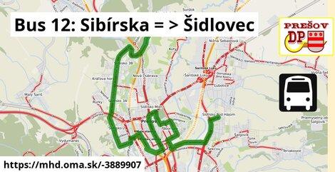 ilustračný obrázok k Bus 12: Sibírska => Dúbravská