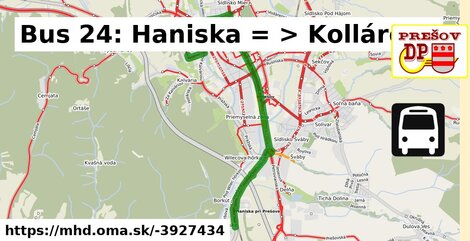 ilustračný obrázok k Bus 24: Haniska => Kollárova