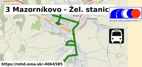 ilustračný obrázok trasy Linky číslo 3 v SR