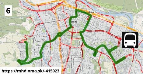 ilustračný obrázok trasy Linky číslo 6 v SR