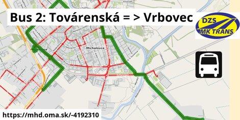 ilustračný obrázok k Bus 2: Továrenská => Vrbovec