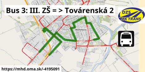 ilustračný obrázok k Bus 3: III. ZŠ => Továrenská 2
