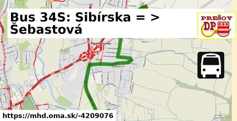 ilustračný obrázok k Bus 34S: Sibírska => Šebastová