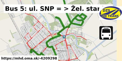 ilustračný obrázok k Bus 5: ul. SNP => Žel. stanica