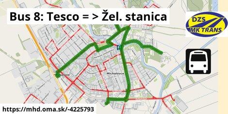 ilustračný obrázok k Bus 8: Tesco => Žel. stanica