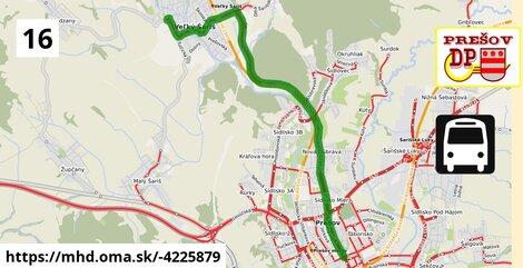 ilustračný obrázok trasy Linky číslo 16 v SR