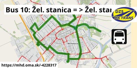 ilustračný obrázok k Bus 10: Žel. stanica => Žel. stanica