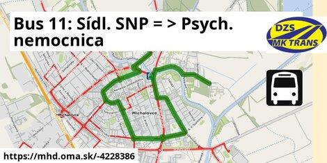 ilustračný obrázok k Bus 11: Sídl. SNP => Psych. nemocnica