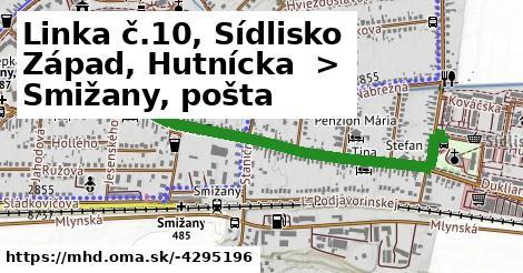 ilustračný obrázok trasy Linky číslo 10 v SR