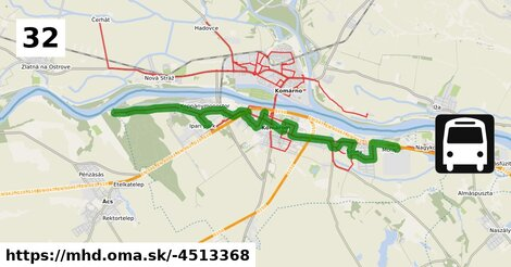 """ilustračný obrázok k 32 """"MP"""" (B): MOL Városrész => Autóbusz-állomás => Monostori Erőd, parkoló => Ipari Park => Koppánymonostor, tábor"""