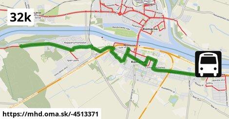 ilustračný obrázok trasy Linky číslo 32 v SR