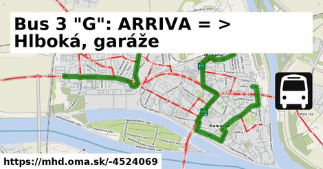 "ilustračný obrázok k Bus 3 ""G"": ARRIVA => Hlboká, garáže"