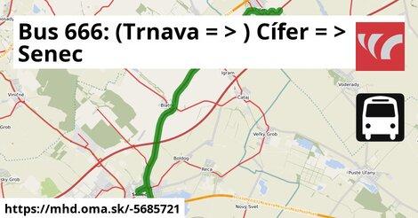 ilustračný obrázok k Bus 666: (Trnava =>) Cífer => Senec