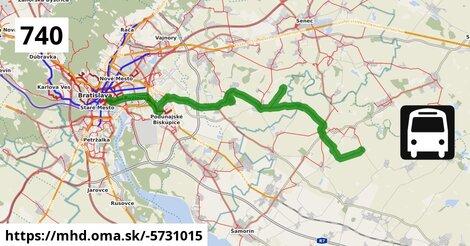 ilustračný obrázok k Bus 740: Bratislava => Vojtechovce