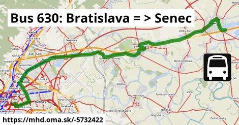 ilustračný obrázok k Bus 630: Bratislava => Senec