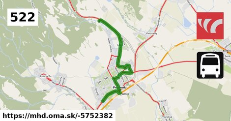 ilustračný obrázok k Bus 522: Pezinok,,žel.st. => Pezinok,,nemonica