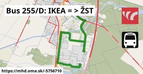 ilustračný obrázok k Bus 255/D: IKEA => ŽST