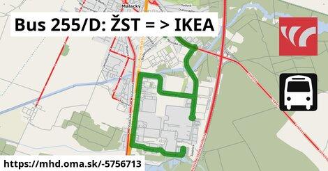 ilustračný obrázok k Bus 255/D: ŽST => IKEA