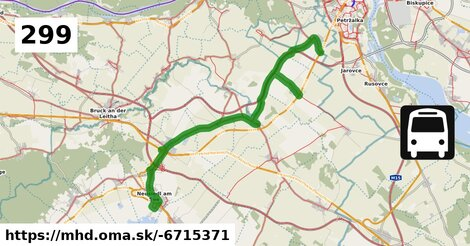 ilustračný obrázok trasy Linky číslo 299 v SR