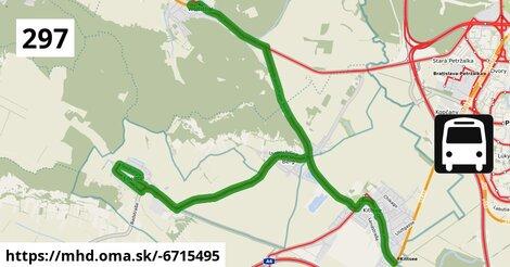 ilustračný obrázok trasy Linky číslo 297 v SR