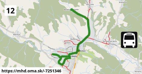 ilustračný obrázok trasy Linky číslo 12 v SR