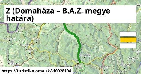 Z (Domaháza – B.A.Z. megye határa)