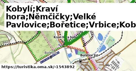 Kobylí;Kraví hora;Němčičky;Velké Pavlovice;Bořetice;Vrbice;Kobylí