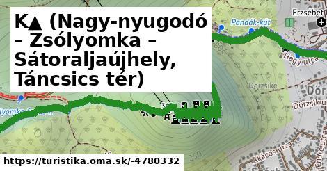 K▲ (Nagy-nyugodó – Zsólyomka – Sátoraljaújhely, Táncsics tér)