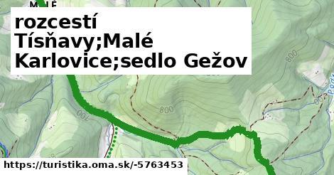 rozcestí Tísňavy;Malé Karlovice;sedlo Gežov