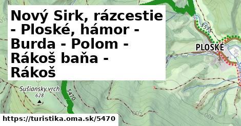 ilustračný obrázok k Nový Sirk, rázcestie - Ploské, hámor - Burda - Polom - Rákoš baňa - Rákoš