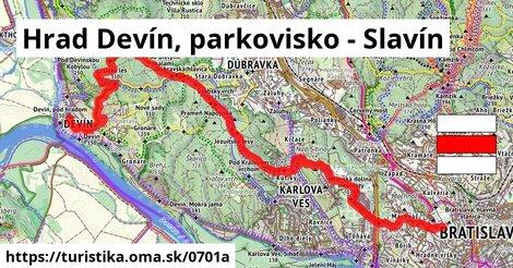 Hrad Devín, parkovisko - Slavín