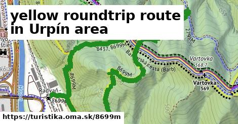 yellow roundtrip route in Urpín area