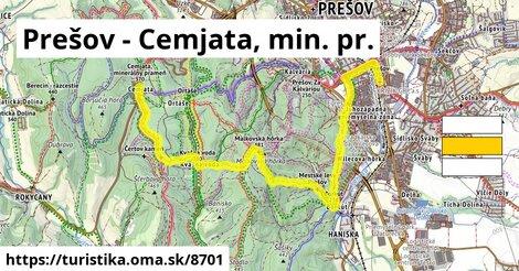 Prešov - Cemjata, min. pr.