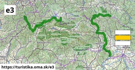 Medzinárodná diaľková turistická trasa E3, Slovensko