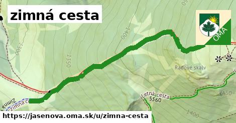 ilustrácia k zimná cesta, Jasenová - 660m